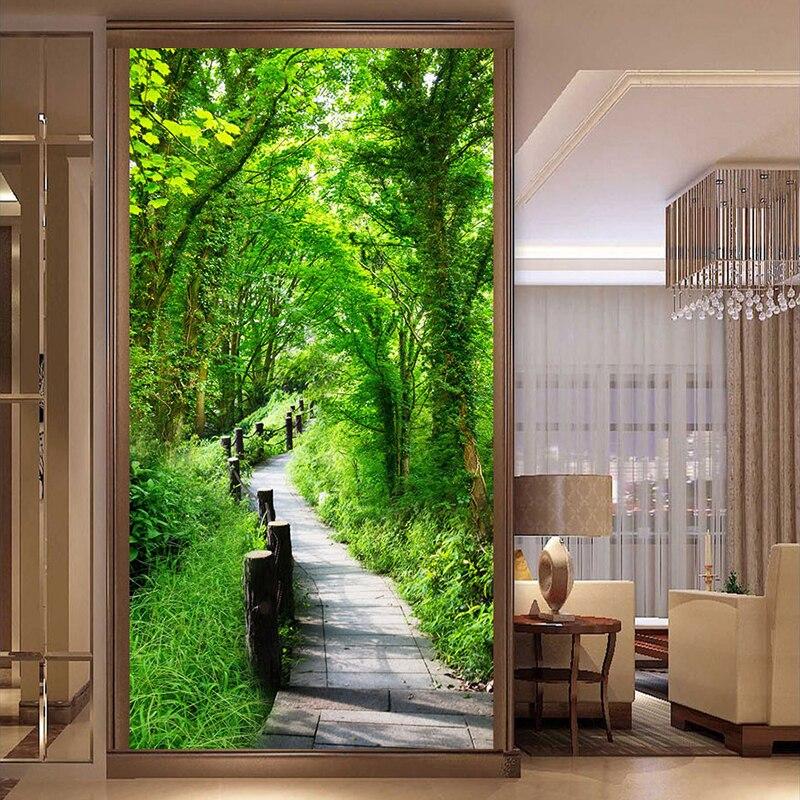 Пользовательская наклейка на дверь, фото, настенное бумажное покрытие для стен, 3D лесная тропа, природный пейзаж, входной фон, Настенная бум...