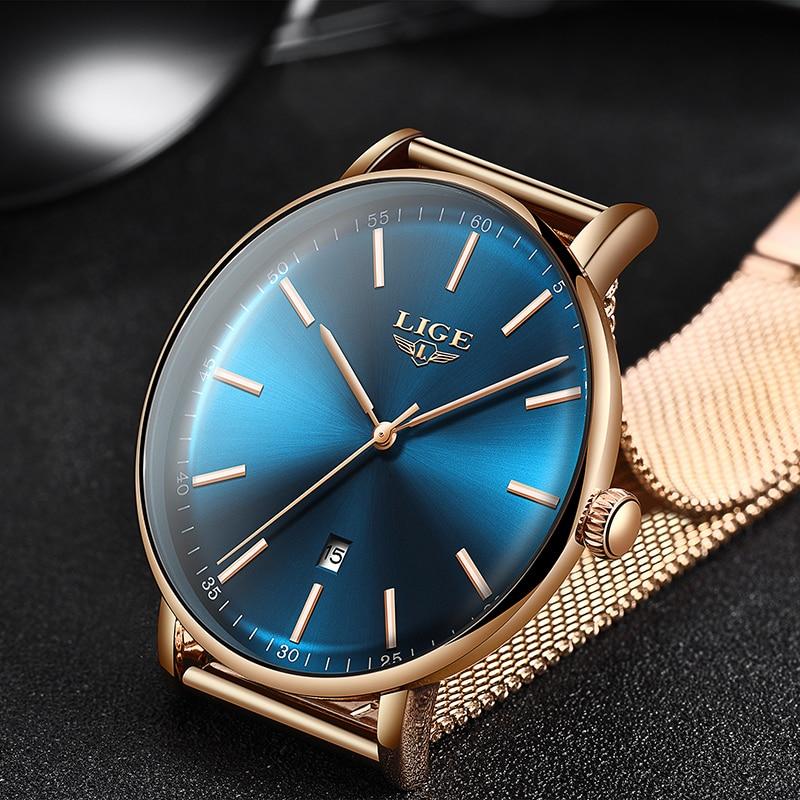 2019 Women's Watch LIGE Top Brand Luxury Women Fashion Casual All Steel Ultra-Thin Mesh Belt Quartz Clock Relogio Feminino+Box enlarge