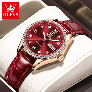 OLEVS New Fashion Casual Fully Automatic Mechanical Women Diamond Day Date Display Luminous Watch Hands Waterproof Watches 6637