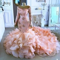 african pink lace beaded mermaid with full sleeves long ruffles organza train elegant long prom gowns real image