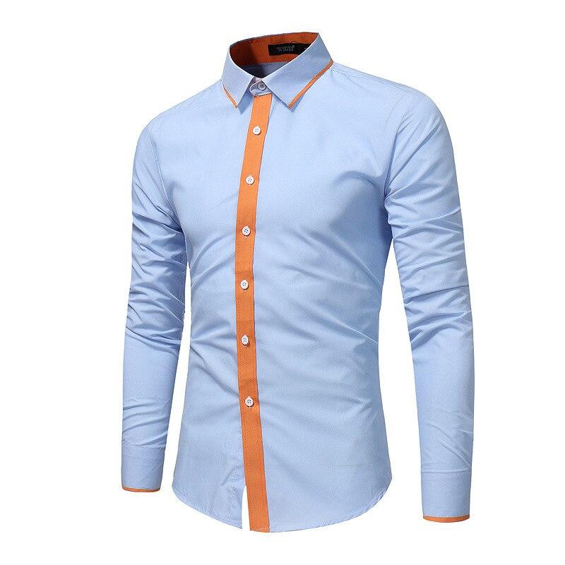 قميص رجالي كم طويل رفض طوق المرقعة سترة قميص عادية واحدة الصدر ضئيلة اللون مطابقة القمم