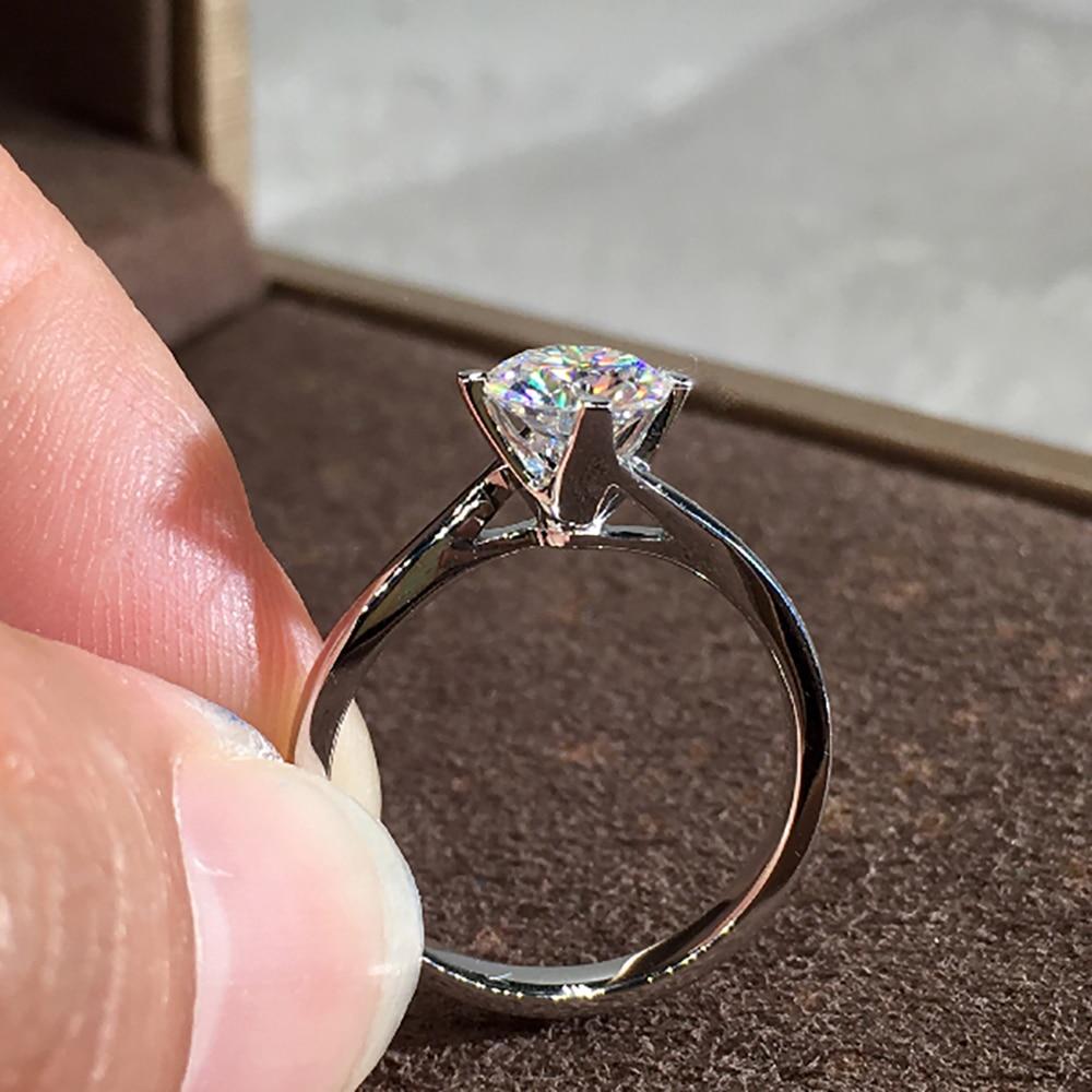 10K Au417 White Gold Women Wedding Party Engagement Ring 1 2 3 4 5 Carat Round Moissanite Diamond Ring Classic Trendy Elegant