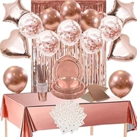 rose gold party supplies disposable tableware plates dessert plates napkins straws birthday baby shower balloons decorations