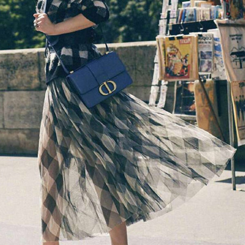 Vintage Black White Plaid Long Skirts for Women 2019 Autumn Women Elastic High Waist Skirt Chiffon Pleated Maxi Skirt