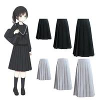 korean japanese version high school student skirt uniform pleated tight waist black skirt collage women girls jk suit kawaii xxl