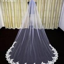 Velo de novia con borde de encaje largo, accesorio de boda, Mantilla, catedral, 3 metros
