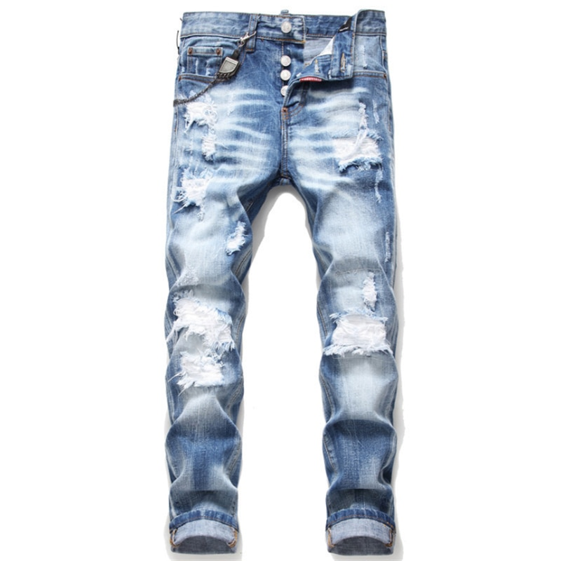 2021 new men's trendy skinny feet jeans ripped patch non-stretch paint spray blue beggar jeans недорого