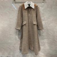 womens new designer high qualoty diamonds wool overcoat hot fashion elegant plaid woollen coat c761