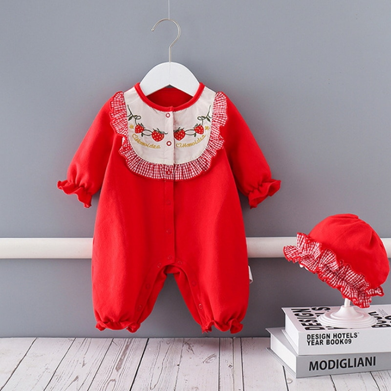 2022 Ins New Spring Baby Girls Romper Red Strawberry Embroidery Long Sleeves Jumpsuit with Cap Kids