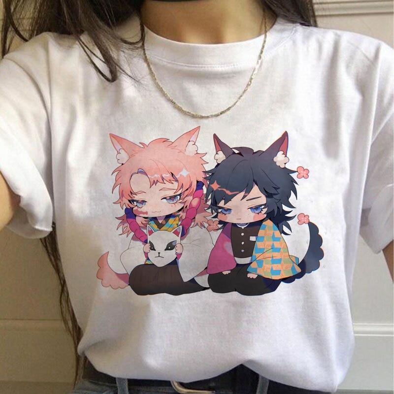 Demon Slayer Graphic Top Tees Aesthetic Oversized Cute Kimetsu No Yaiba T Shirt Japanese Anime Figure Women Clothes Summer Top