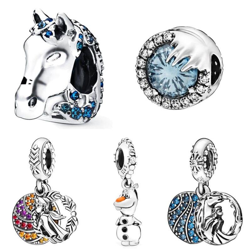 Новые поступления, серебряные бусины 925 пробы, замороженная лошадь Nokk, зимние хрустальные амулеты, подходят к оригинальным браслетам Pandora, Ж...