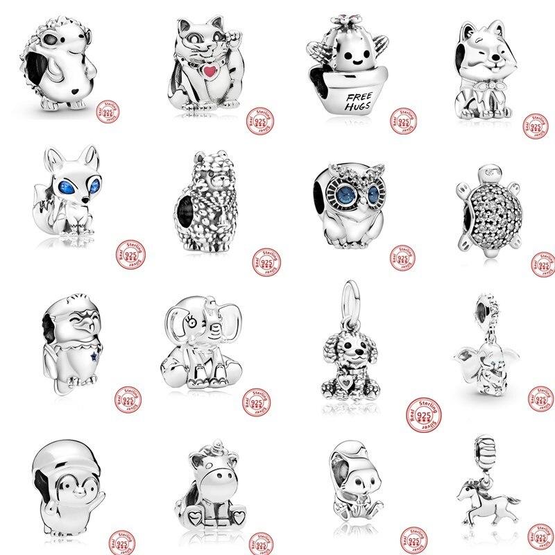 2020 chaude 925 argent Sterling éléphant Akita chien cheval renard chat perle ajustement Original Pandora Bracelet à breloques bijoux à bricoler soi-même cadeau classique