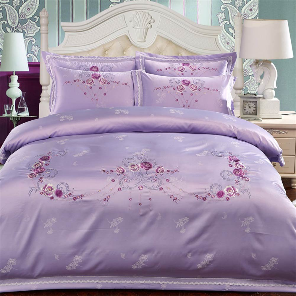 Papa & Mima púrpura satén algodón bordado ropa de cama reina rey ropa de cama edredón sábana cubierta almohada Sham