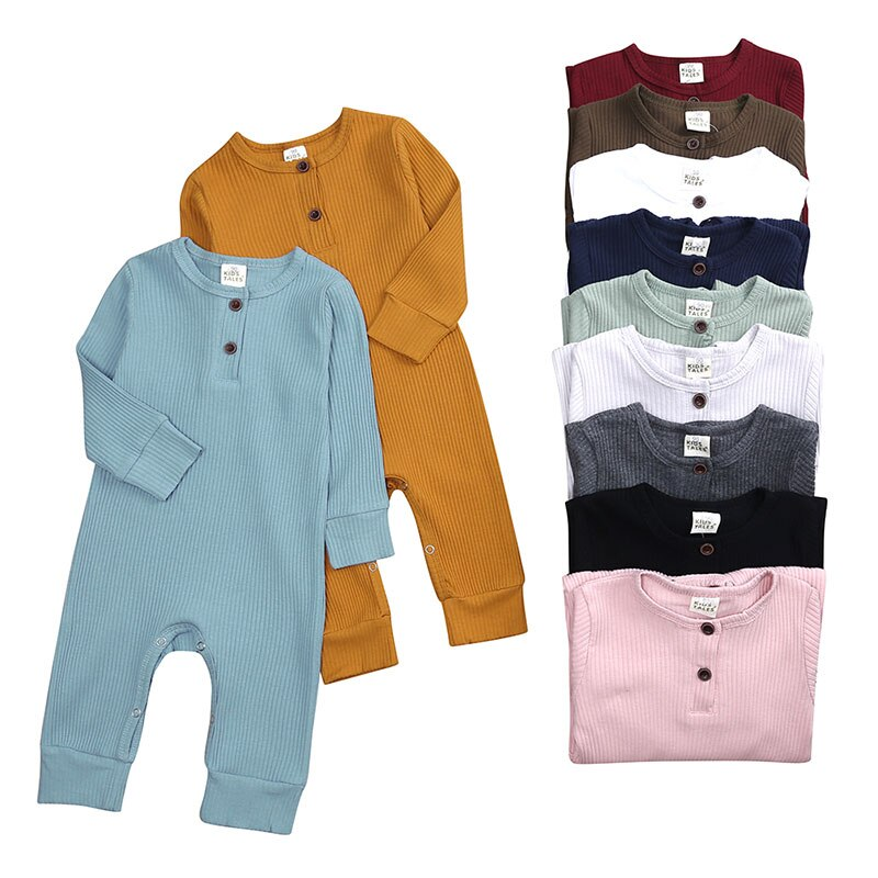 0-24 Months Baby Boy Romper Long Sleeve Knitted Ribbed Baby Clothes Girl Rompers Solid Color Toddler