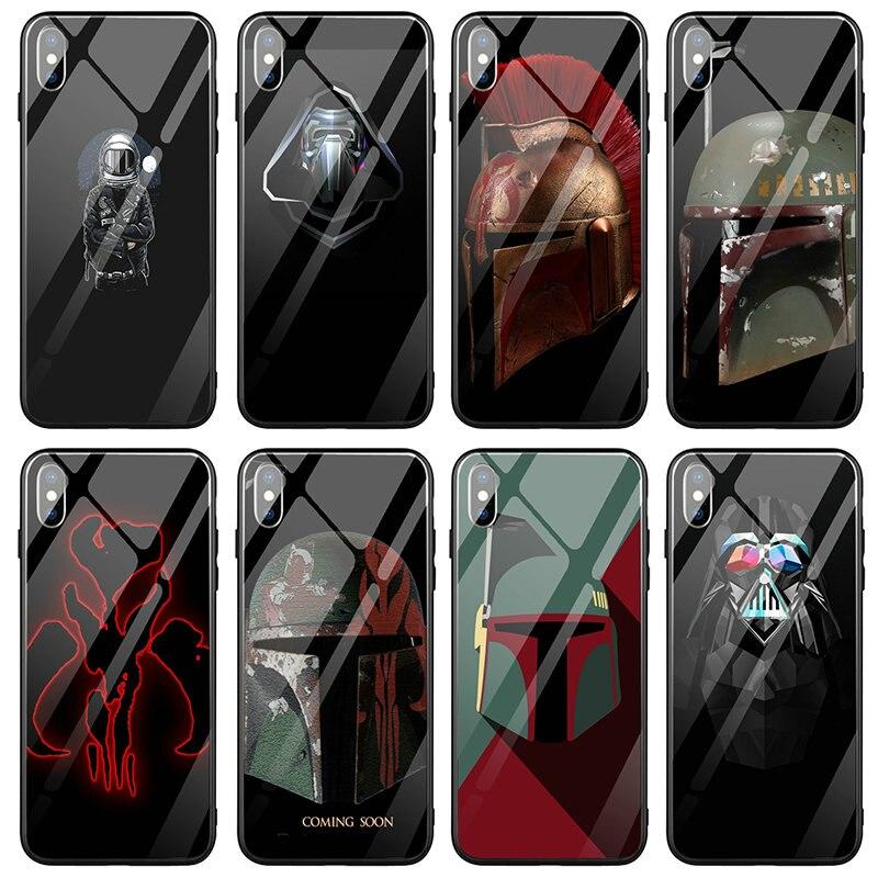 Vidro temperado claro capas de telefone coque para iphone 5 5S se x xr xs 11 pro max 6s 7 8 mais sacos star wars império arte