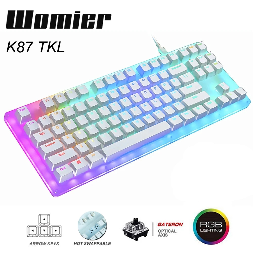 Promo Womier 87 key K87 Hot Swappable RGB Gaming Mechanical Keyboard 80% Translucent Glass Base Gateron Switch with Crystalline Base
