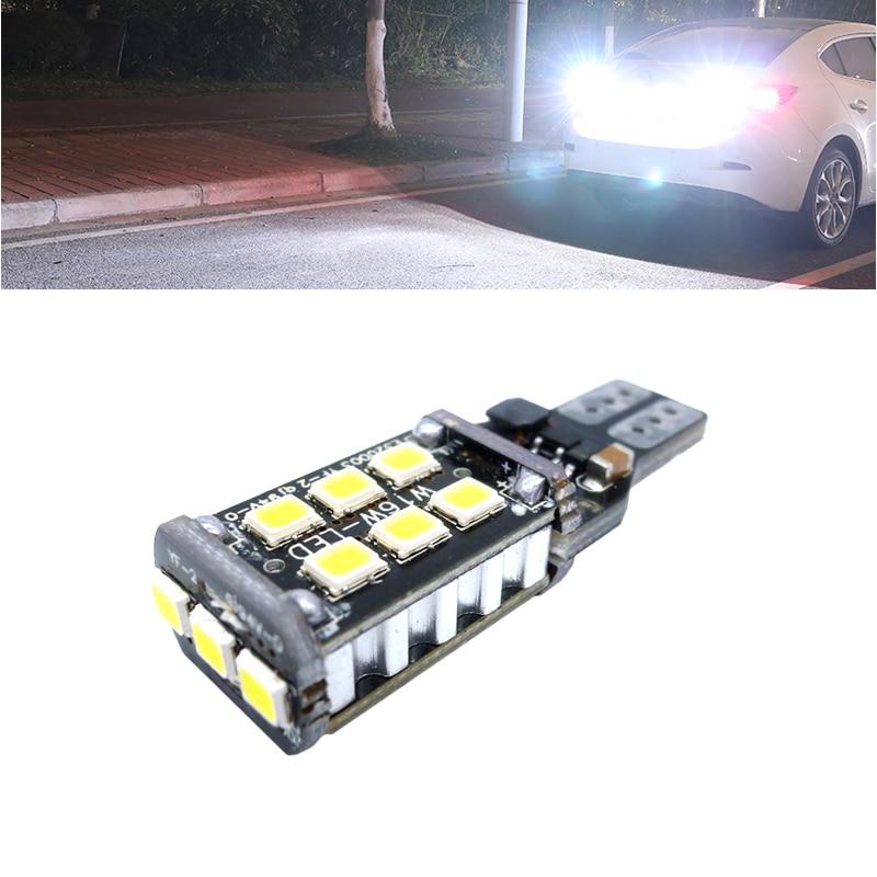 Super brillante LED T15 W16W 15 SMD 2835 Auto Canbus luces de marcha atrás Luz de parada luces de respaldo bombilla inversa CANBUS blanco
