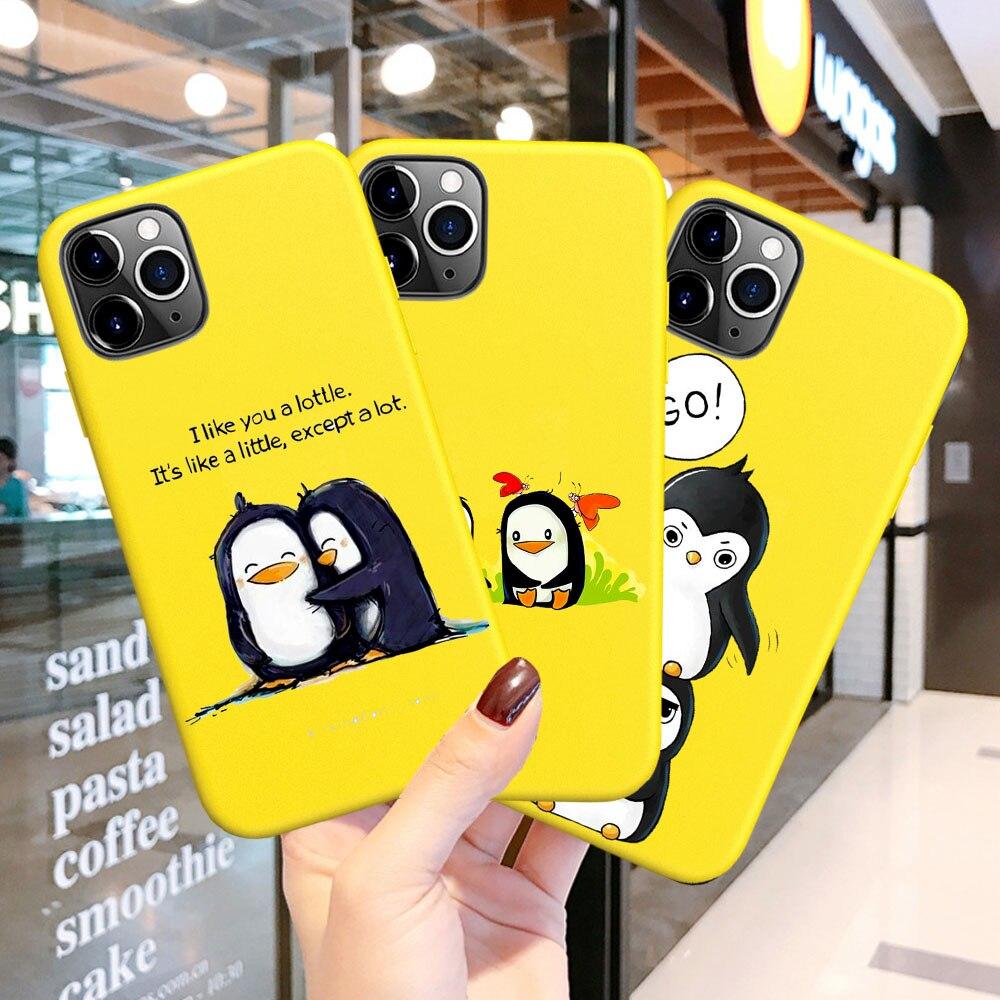 Quente bonito casal adorável pinguim dos desenhos animados caixa do telefone doces amarelos para o iphone 6s 7 8 x xs xr 11 pro max se 2020 capa de silicone