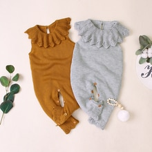 Autumn Infant Baby Girls Sleeveless Knitted Solid Print Rompers Kids Boys Long Jumpsuit