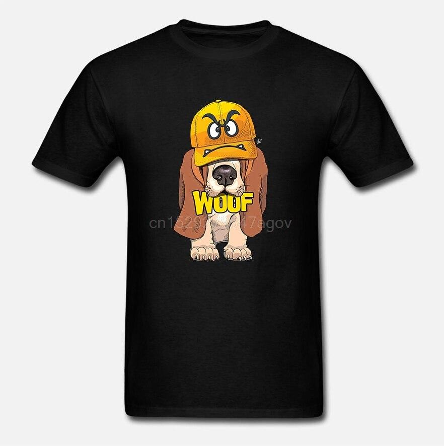 Camiseta para hombre Bassett Hound Puppy vistiendo cara enojada gorro Woof