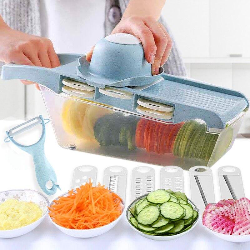 Cortador multifuncional 6 en 1, cortador duradero de verduras, patatas, pelador, cortador, cortador, rebanador, zanahoria, rallador, soporte de cocina, verduras