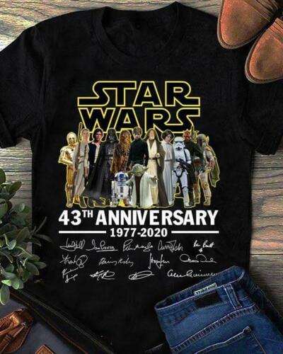 Star Wars 43th aniversario 1977-2020 hombres camiseta S-3XL negro