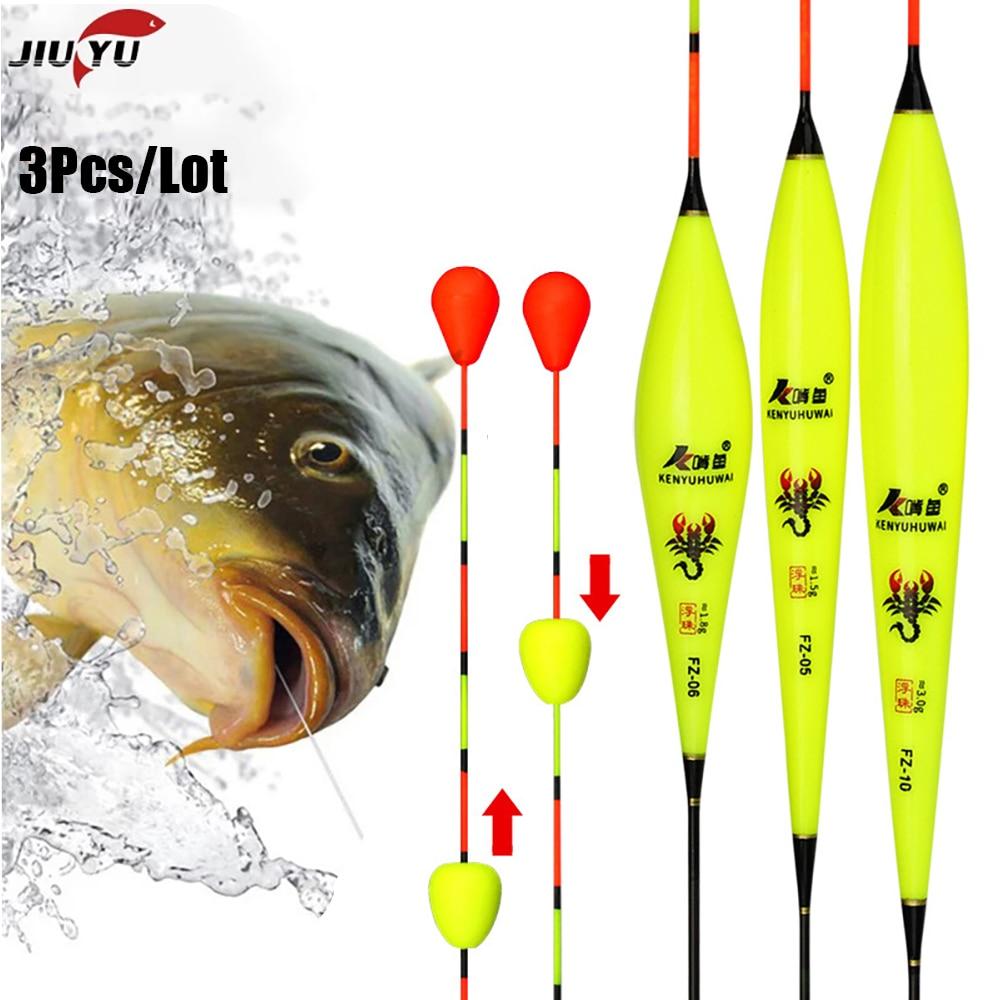JiuYu-Flotador de pesca compuesto de plástico Nano, 3 unids/lote, Bobbers, bola rodante,...