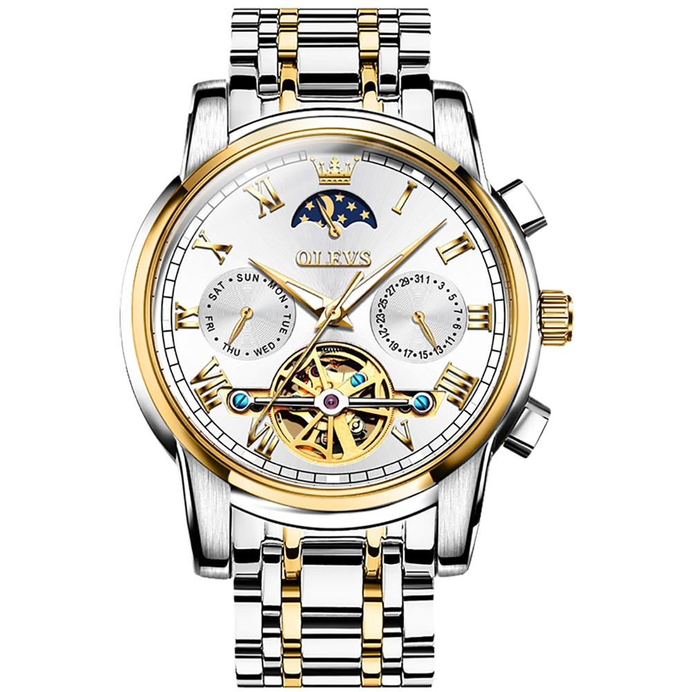 OLEVS Brand watch mechanical watch moon phase hollow mechanical men's watch enlarge