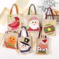 gingerbread purses man christmas linen tote bag cartoon candy bag christmas decoration applique gift bag gift bag tote bag