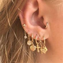 Flatfoosie Cross Hoop Earrings for Women Gold Star Triangle Tiny Huggie Cartilage Hoops Earrings With Rhinestones 2020 Jewelry