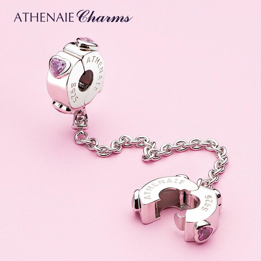ATHENAIE أصيلة 925 فضة الوردي تشيكوسلوفاكيا الحب قلوب استرخى سلسلة أمان أساور صالح لتقوم بها بنفسك مجوهرات عيد الحب