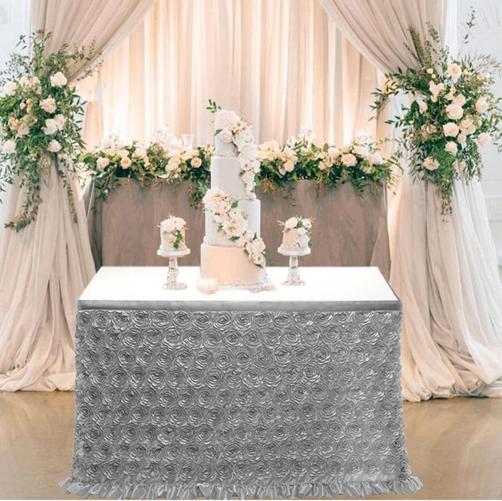 تنورة طاولة جديدة من الساتان الوردي ثلاثي الأبعاد ، مفرش مائدة زهري ، لحفلات استقبال المولود الجديد ، وحفلات الزفاف ، وغطاء طاولة الحلوى