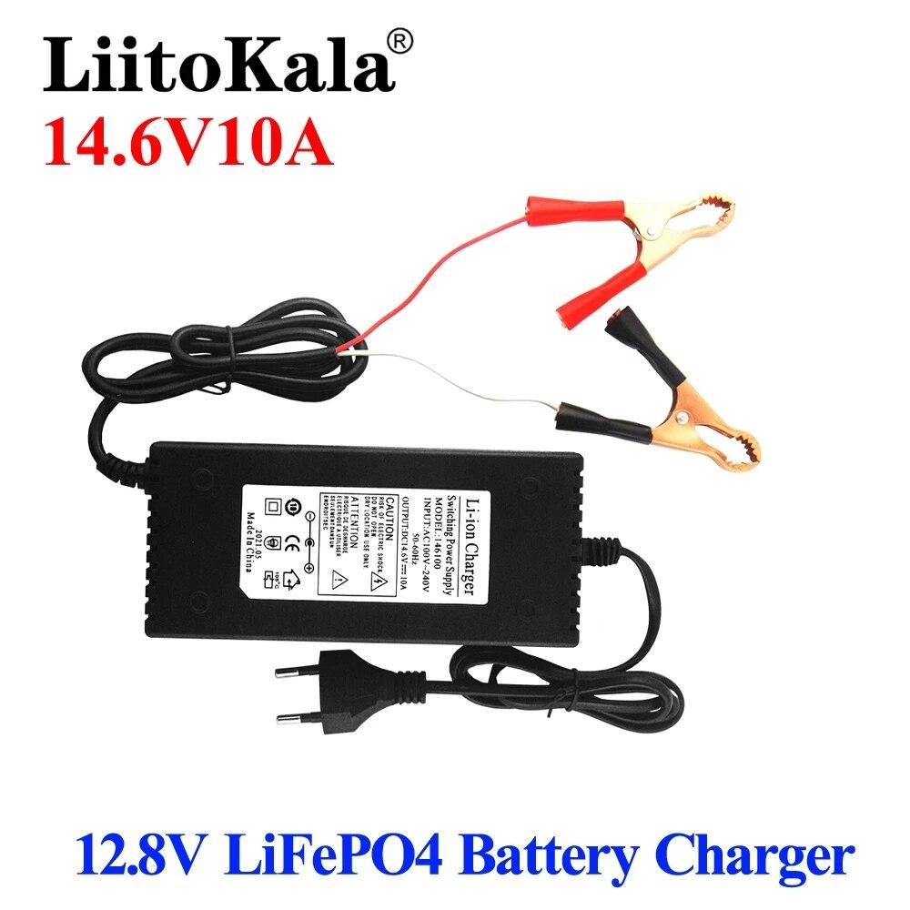 LiitoKala الناتج 14.6 فولت 10A ل 12 فولت 10A Lifepo4 شاحن بطارية مع الاتحاد الأوروبي التوصيل كليب تهمة تيار مستمر محول المدخلات 100-240 فولت كليب رئيس