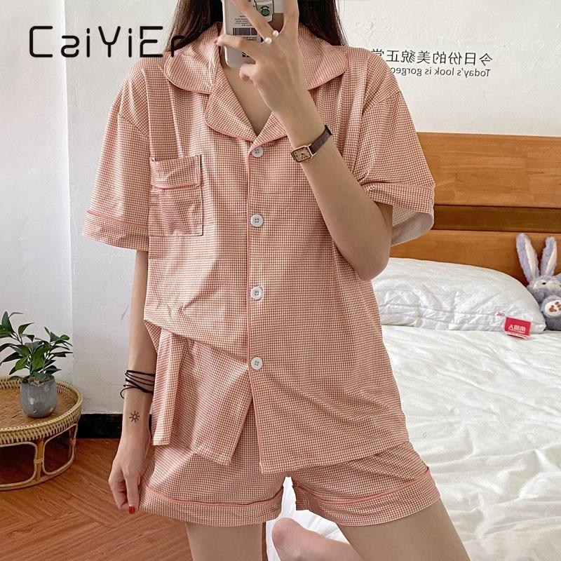Пижамный костюм CAIYIER женский с шортами, одежда для сна в клетку с коротким рукавом, милый комплект из 2 предметов, ночная рубашка в клетку для ...