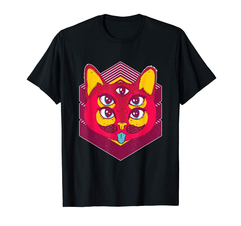 Camiseta con diseño de gato artístico, psicodélico, deslumbrante, vibes, playera de gatito