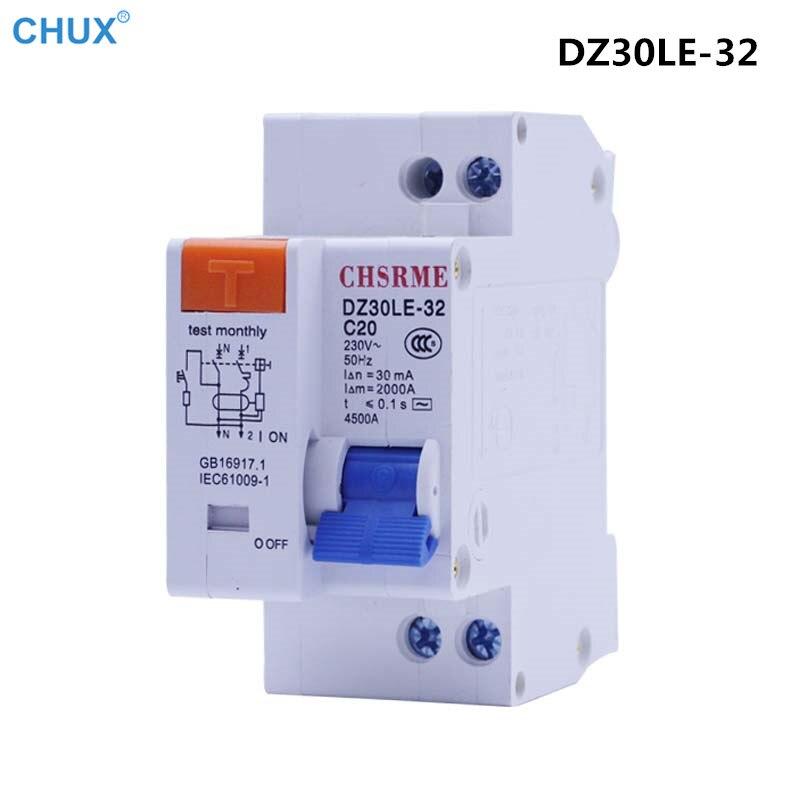 Мини выключатель защиты от утечки MCB DZ30LE-32 1P + N 10a 16A 20A 25A 32A 220В 230В 50Гц 60Гц остаточный ток бытовой