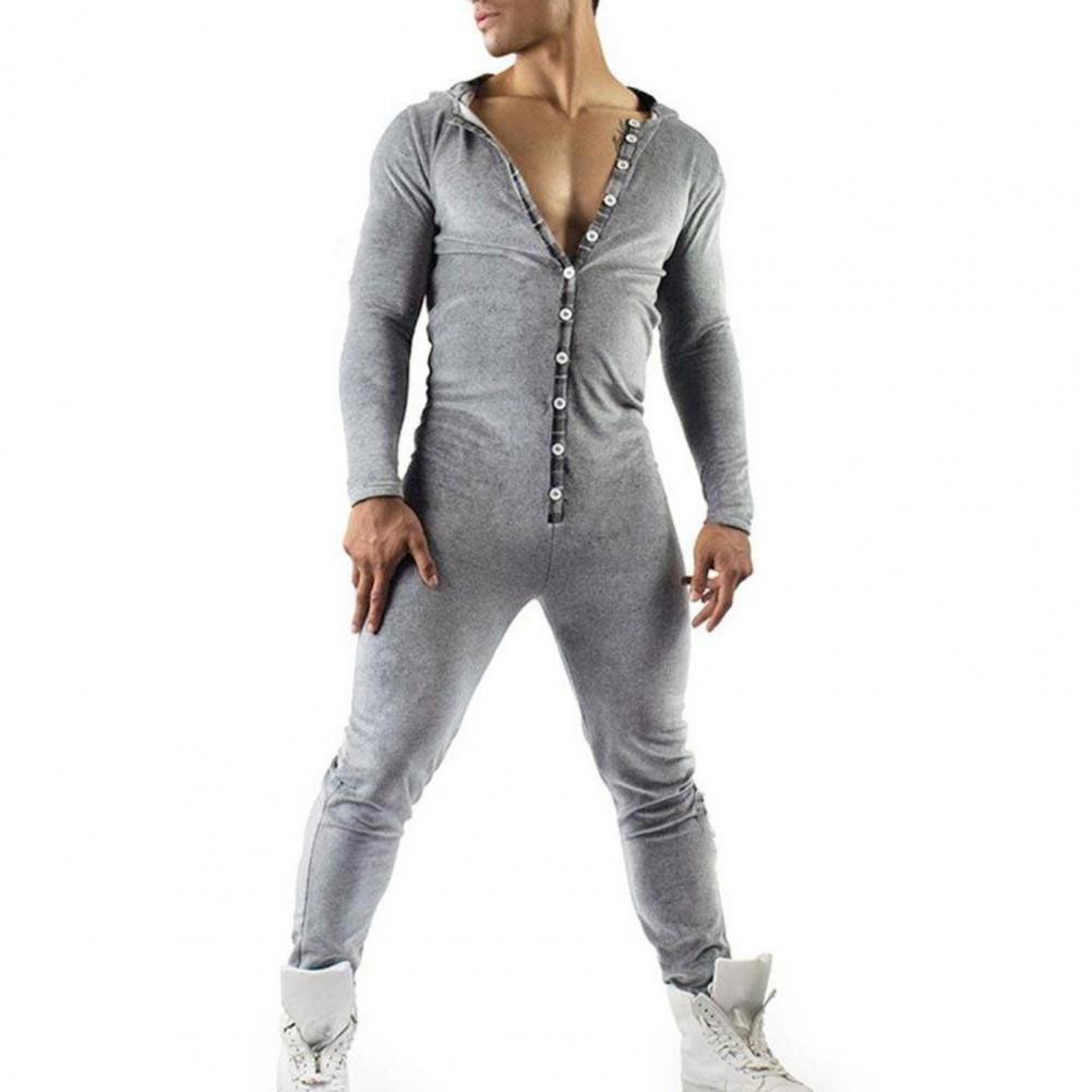 Мужчины однотонный цвет однобортный с капюшоном одежда для сна длинный рукав пижамы комбинезон