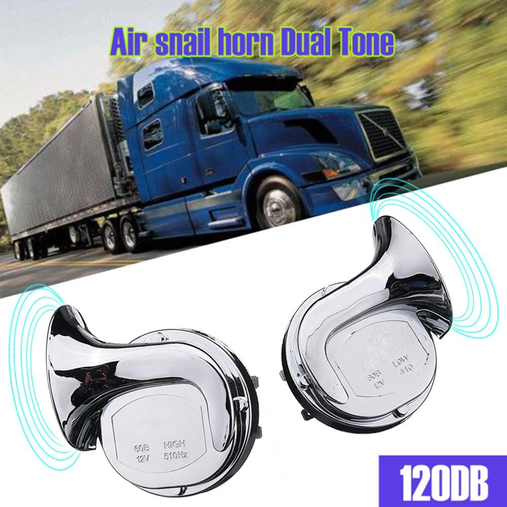 12V 120dB Car Horn Motorcycle Universal Chrome Dual Tone Air Snail Horn Pack of 2pcs Car Accessories