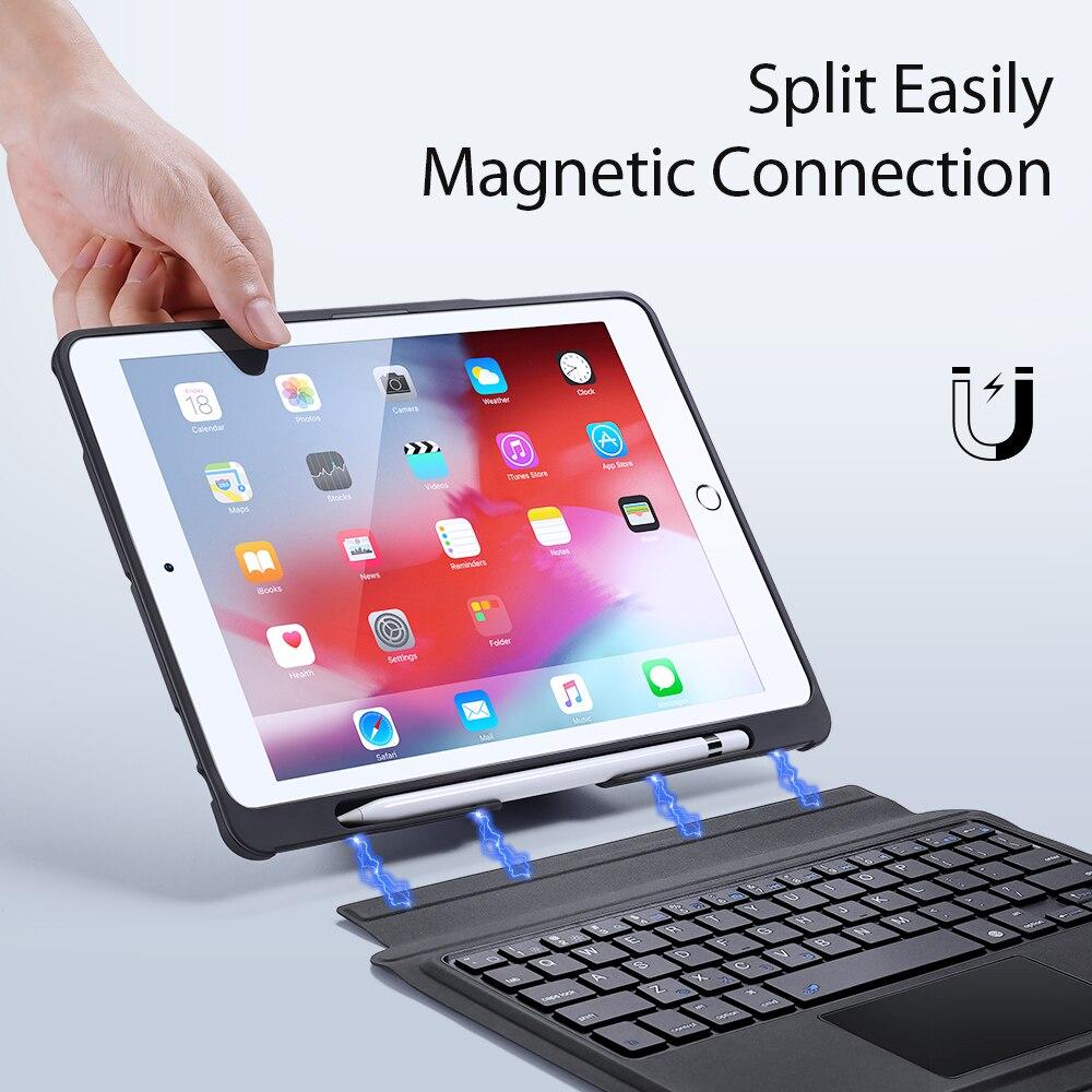 ماجيك لوحة المفاتيح حالة ل 2017 باد 5th الجيل ل 2018 باد 9.7 6th الجيل ل الهواء مع بلوتوث لوحة المفاتيح المغناطيسي غطاء