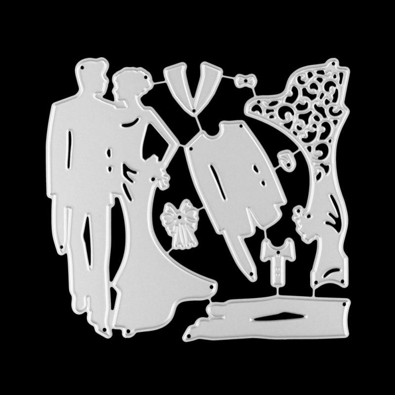 Невеста жених металла резки штампы свадебное платье высечки формы углерода скрапбукинга бумаги ремесло нож формы лезвия удар трафареты