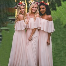 Sexy Chiffon Beach Wedding Bridesmaid Dress Off The Shoulder A Line Zipper Simple Soft 2021 Long Pro