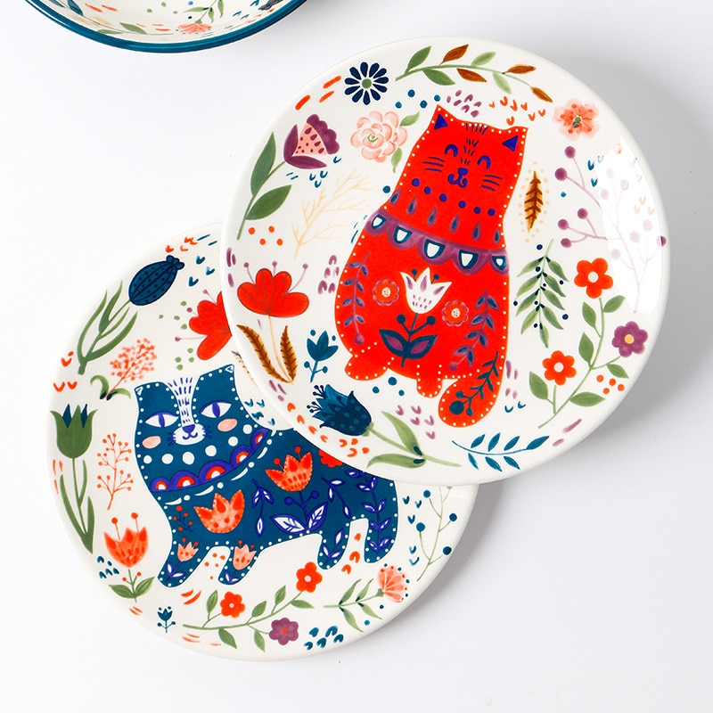 أطباق عشاء السيراميك اليابانية رسمت باليد الكرتون القط لوحة الإبداعية الملونة أطباق المنزلية أواني الطعام أدوات المائدة ديكور المنزل