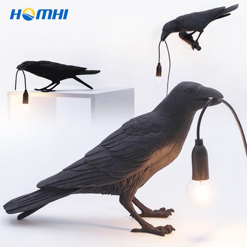 Crow Bird Wall Lamp Sconce Luminaria Art Deco Lampade Da Parete Lucky Raven Decoracion Casa Moderna Table Indoor Lighting HOMHI