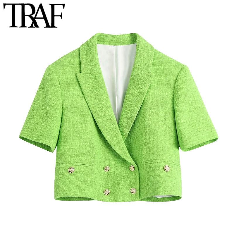سترة نسائية من TRAF مزدوجة الصدر من التويد مع قصاصات معطف عتيق بأكمام قصيرة ملابس خارجية نسائية أنيقة