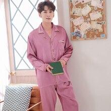 Men's Silk Pajamas Solid Color Sleepwear Pyjama Sets Casual Sleep&Lounge Pijamas Mujer Plus Size L-3