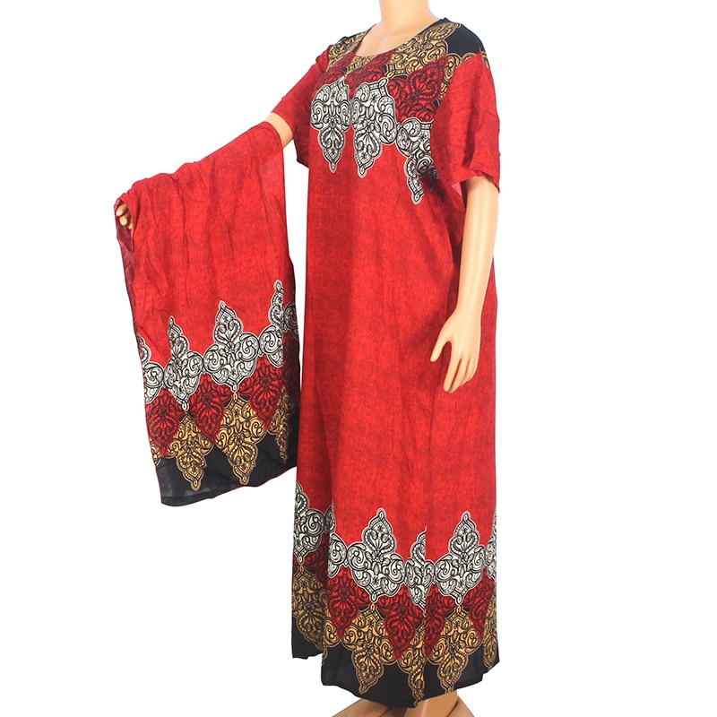 2020 Dashikiage African Dashiki For Women 100% Cotton Red Print Short Sleeve O-Neck Long Dress Summer Modern Mama Maxi Dress недорого