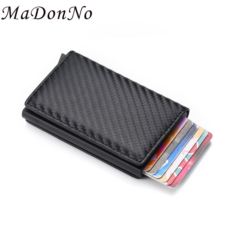 Карбоновый RFID блокирующий держатель для кредитных карт для мужчин и женщин, кожаный смарт-кошелек для банковских карт, чехол, Карманный держатель для карт, защитный кошелек