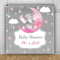 laeacco pink elephant girls baby shower gray wooden boards photography background customized poster baby portrait photo backdrop