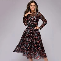 womens floral embroidered tulle prom dress with cami dress long sleeves no45