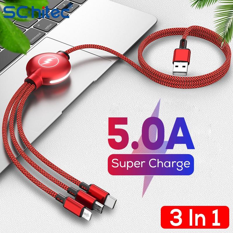 Schitec 5A USB نوع C كابل 3 في 1 آيفون 11 سامسونج شاومي الهاتف المحمول أندرويد مايكرو الحبل المحمولة متعددة مزامنة البيانات سلك